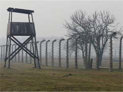 photo of a guard tower at a concentration camp